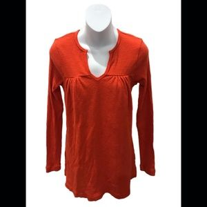 t.la Anthropologie Orange Long Sleeve V-Neck Tunic